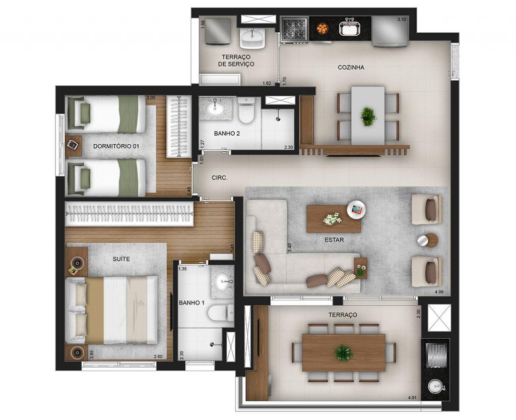 81m² - living ampliado