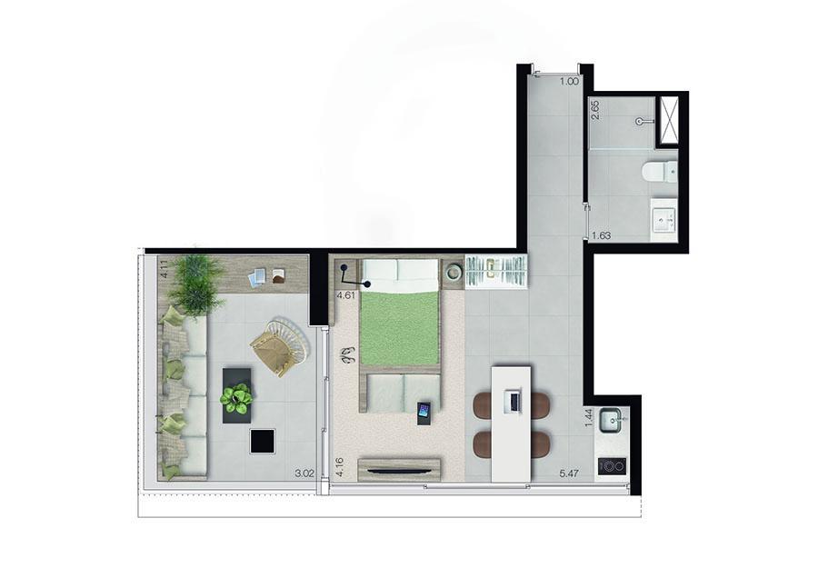 Studio Longstay 46m²