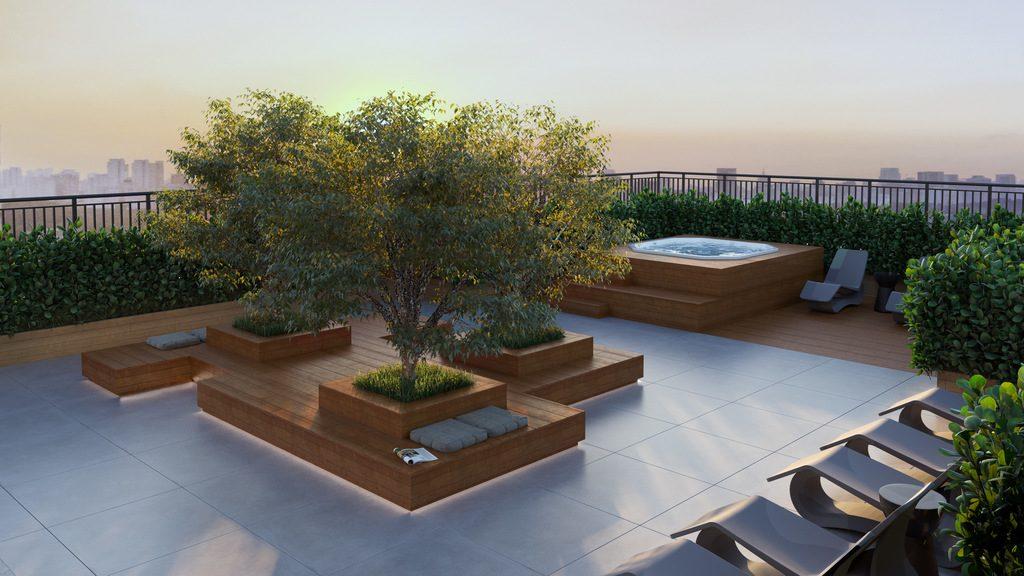 Perspectiva Ilustrada Lounge Rooftop