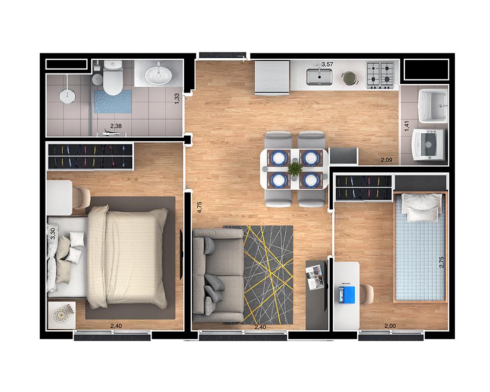 36m² - 2 dorms