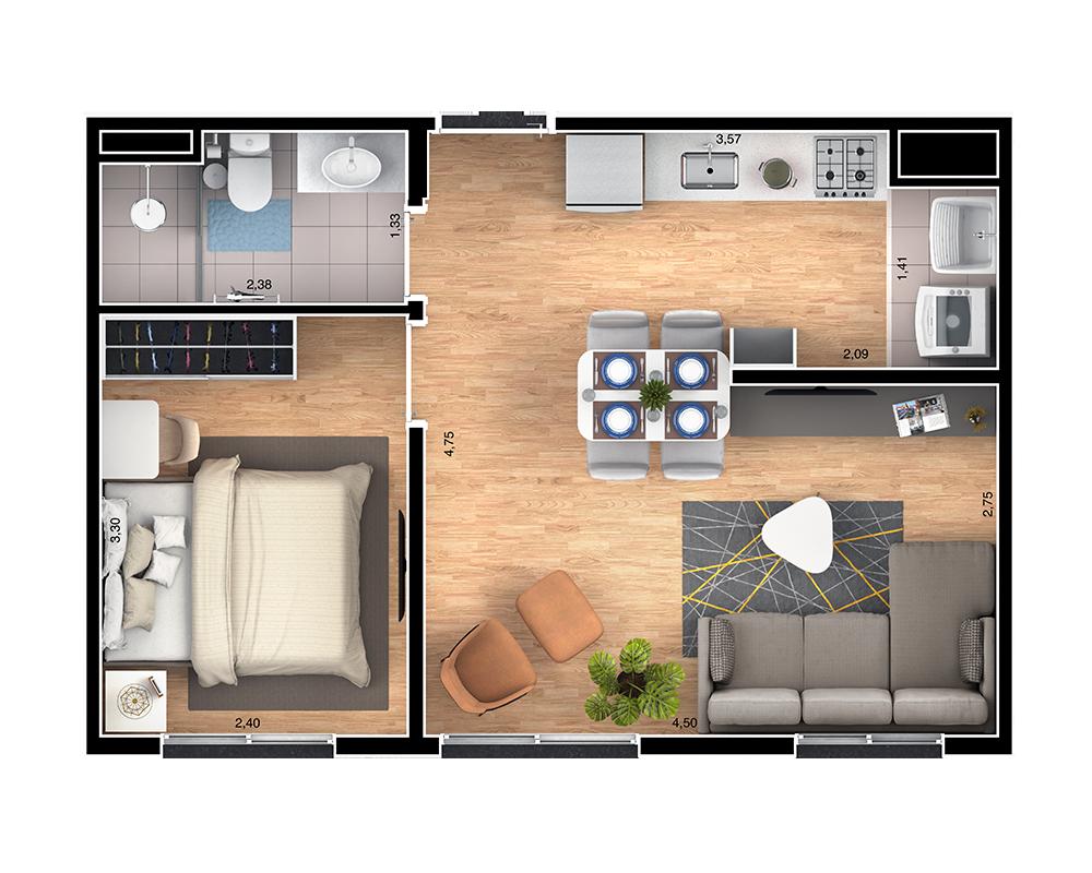 36m² - 2 dorms living ampliado