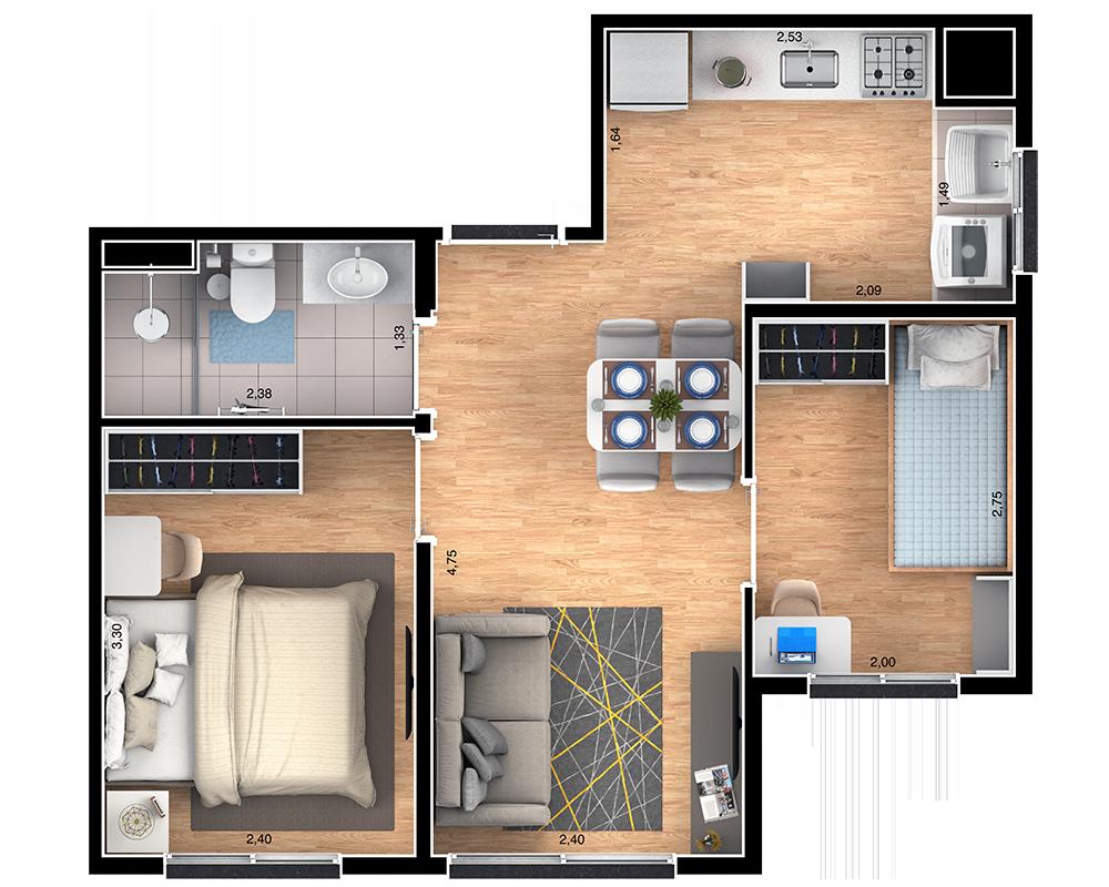 38m² - 2 dorms