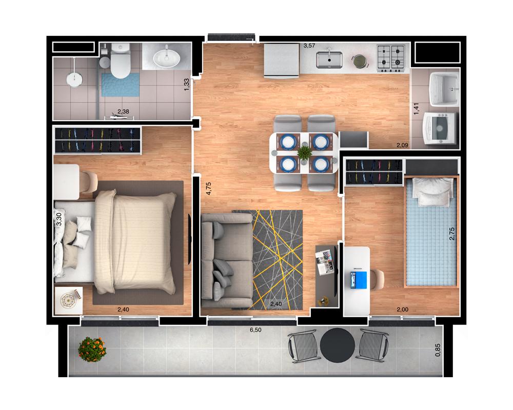 42m² - Garden 2 dorms
