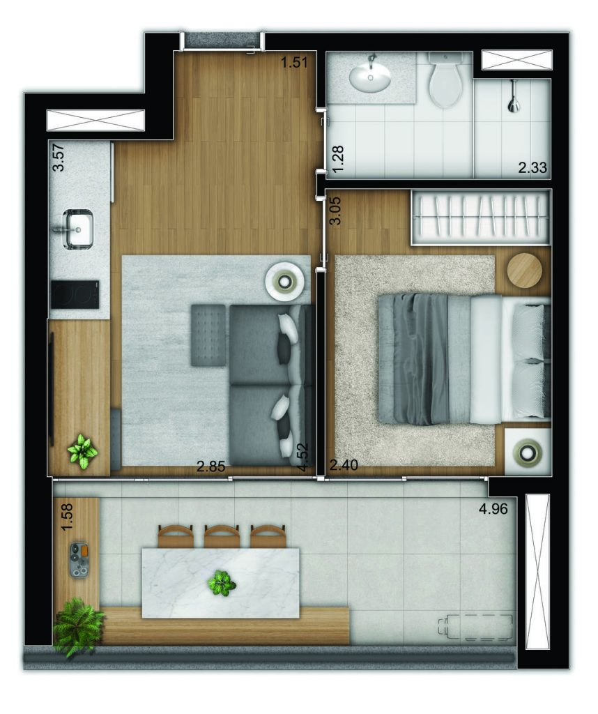 1 dormitório - tipo - bancada dentro banho_Easy-Resize.com