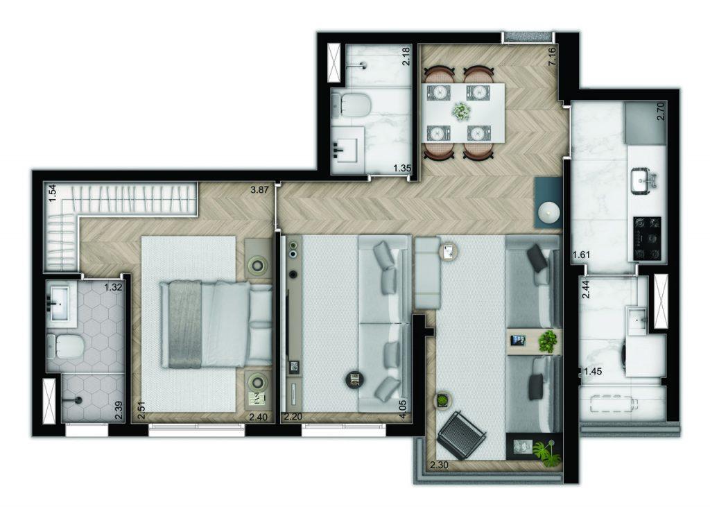 2 dormitórios - decorado