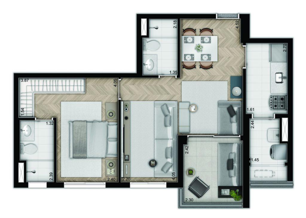 2 dormitórios - decorado e com caixilho