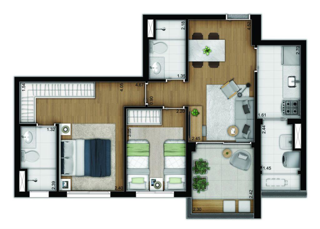 2 dormitórios - tipo