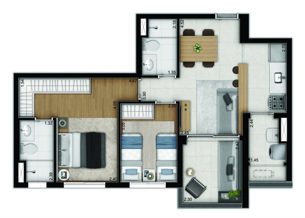 2 dormitorios - opção 3