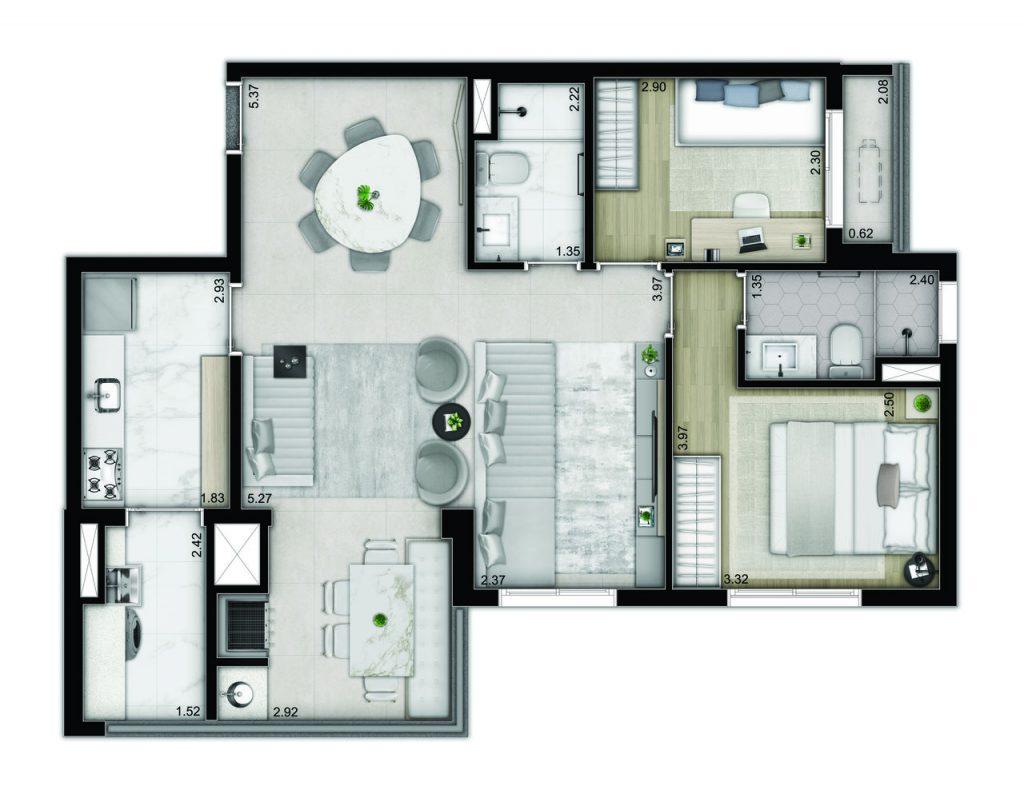 3 dormitórios - decorado
