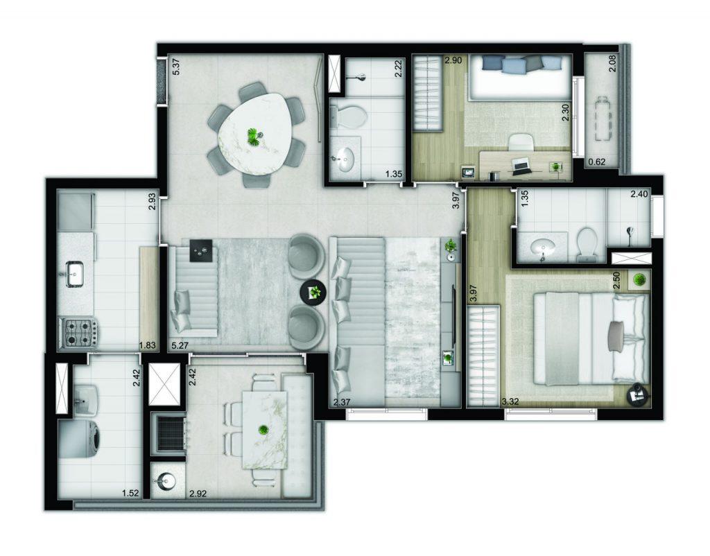 3 dormitórios - decorado e com caixilho