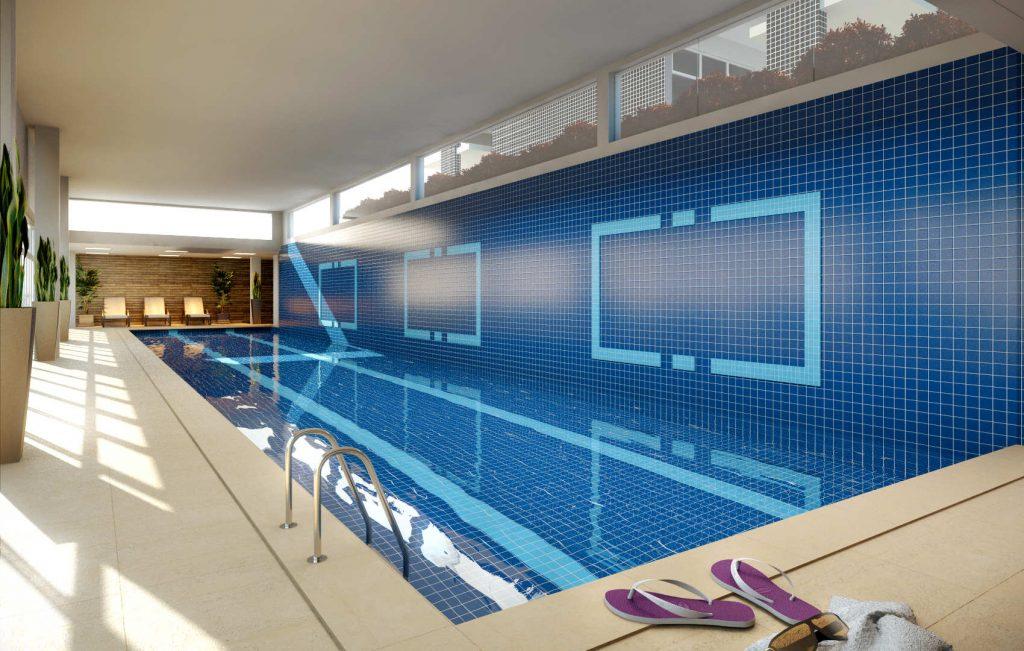 piscina climatizada com raia