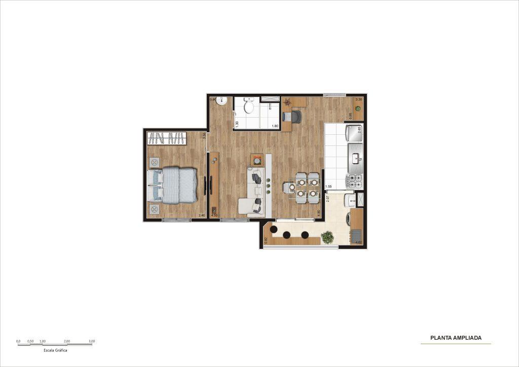 47m² - Living ampliado