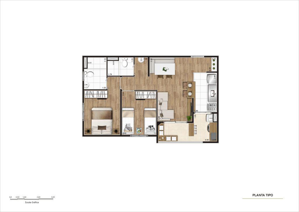 55m² - 2 dorms