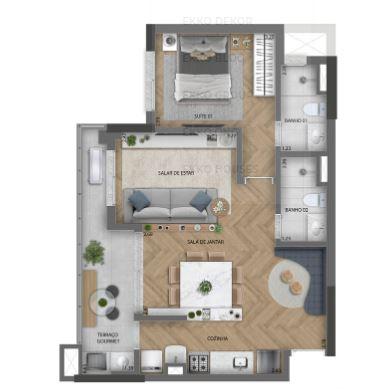 59m² - Living ampliado