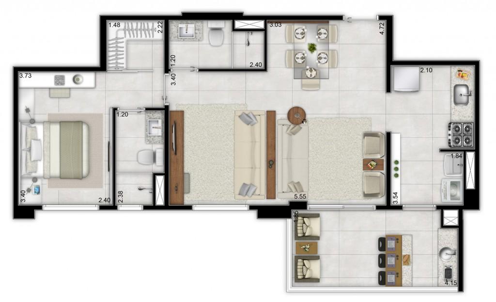 62m² - Living ampliado