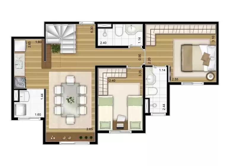 Duplex inferior 109m²