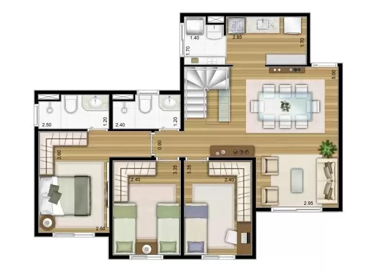 Duplex inferior 133m²