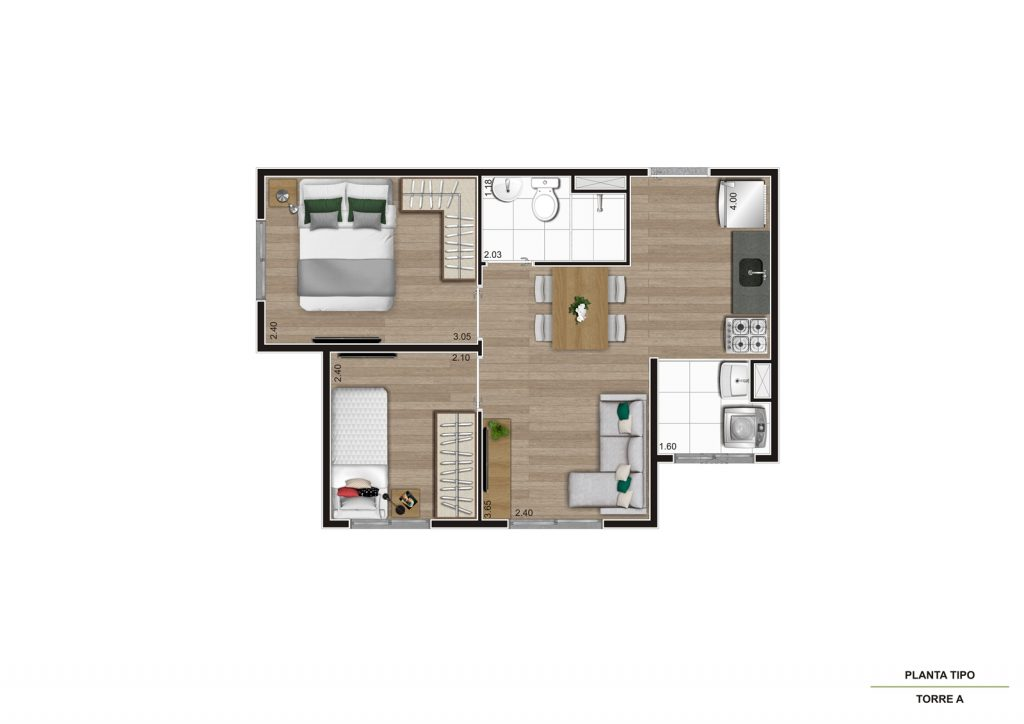 Planta 34m² - 2 dorms