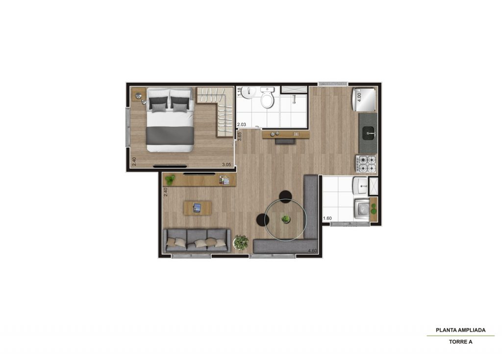 Planta 34m² - Living Ampliado