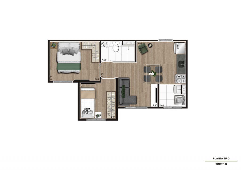 Planta 35m² - 2 dorms