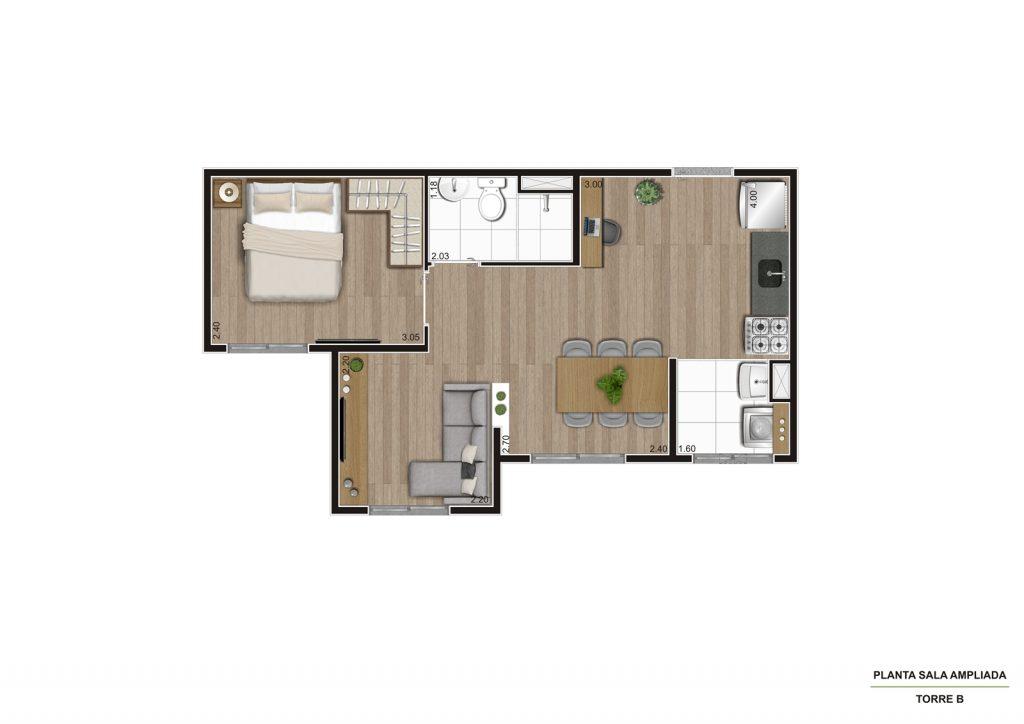 Planta 35m² - Living Ampliado