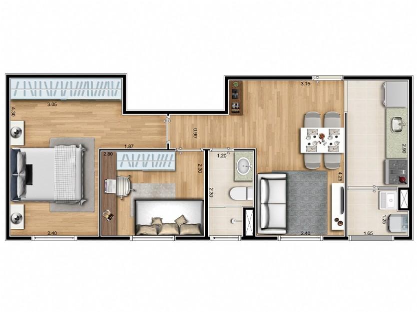 2 dorms 48 m²