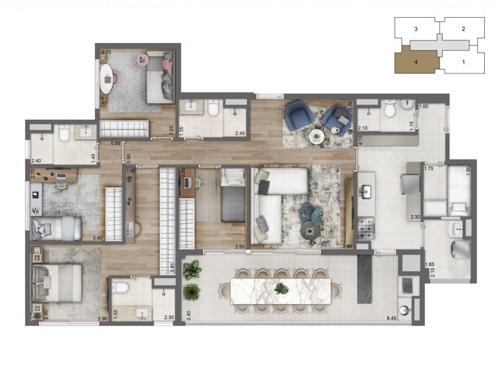 Planta Opção 113 m²