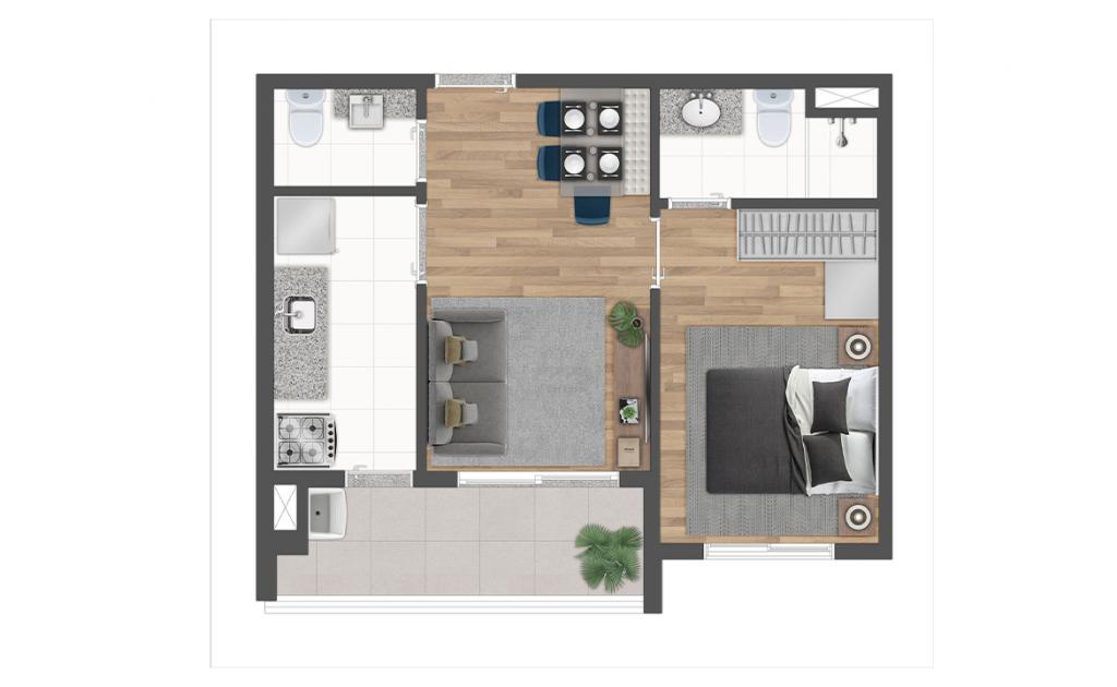 Planta 39m² - Terraço