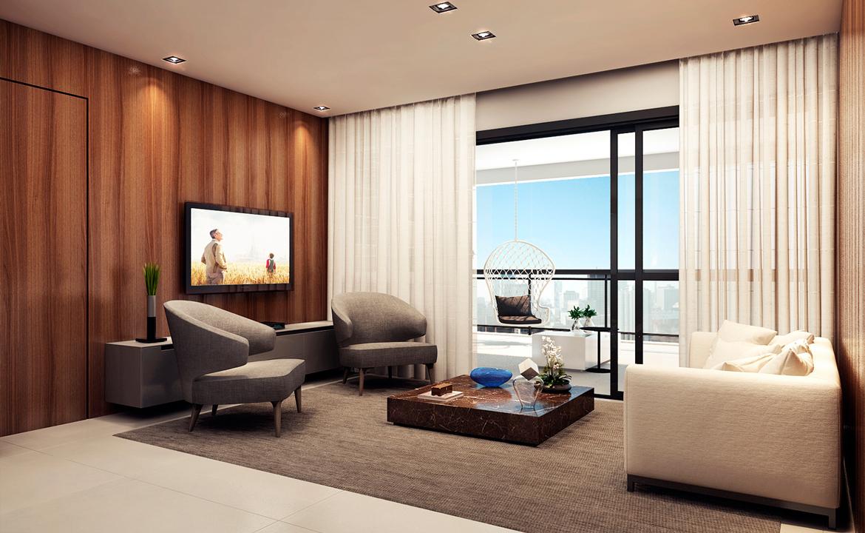 Living do Apartamendo de 153m² Perspectiva Ilustrada