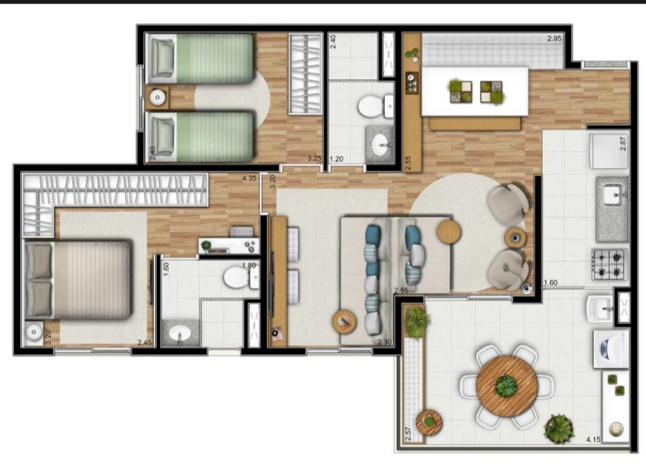 2 dorms (suite) - OPÇÃO LIVING AMPLIADO