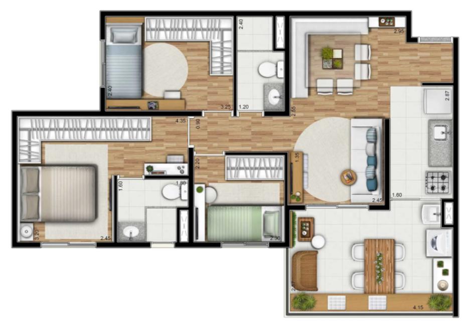 3 dorms (suite)
