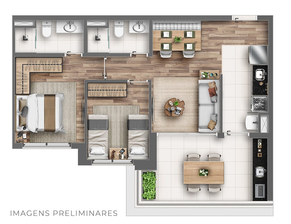68m² - Tipo
